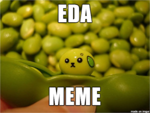 Eda Meme (photo of edamame bean painted to look like a cute baby animal)